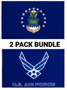 3x5FT Air Force Flag Bundle Set of Wings Eagle USAF Veteran Military USA AF Blue