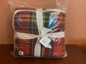 """Pottery Barn Oakley Plaid SHERPA throw plaid RED 55"""" x 80"""" oversized blanket"""