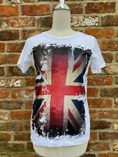 Distressed Union Jack Flag British Pop Cool Graphic Screen Print T-Shirt 32in