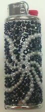 SWIRLING STAR PATTERN BLACK AND SILVER GLITTER LIGHTER CASE WITH REGULAR BIC