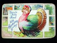 Early Embossed Fantasy Thanksgiving Postcard Turkey with Girls Face