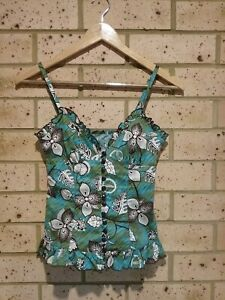 Blue Green Brown Floral Pattern Button Up Cami Top Ladies XS 'Supre'