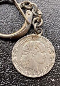 1894 Haiti First Republic 20 Centimes Keychain Coin