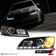 2008-2010 Pontiac G8 [LED DRL Strip] Black Projector Headlight Head Lamp PAIR