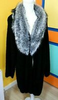 Little Extra Spice Womens Plus Size 3X Black Knit Open Front Cardigan FUR Collar