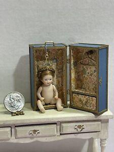 Vintage Artisan ANNIE Bisque Jointed Doll & Trunk Dollhouse Miniature 1:12