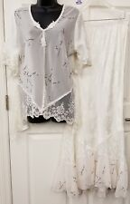 Spencer Alexis 2 Piece Blouse Top Skirt Victorian Lace Romantic Sz 14 Ivory Silk