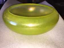 Beautiful Antique  Large STRETCH GLASS Yellow Serving Bowl
