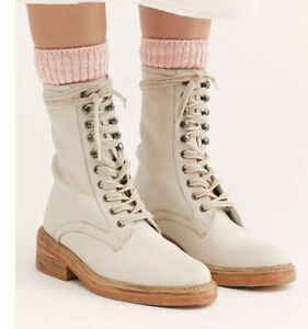 Free People Santa Fe Lace Up Boot Ecru White Size 38/8 New