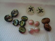14  Vintage Glass Buttons  Mix Colours and Design