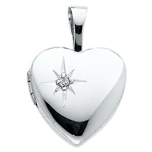 Ioka - 14K White Gold Heart Locket Charm Pendant For Necklace or Chain