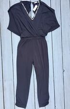 New York & Company Black Stretchy Jumpsuit Jumper, XL, Jeweled V Neck, NWT