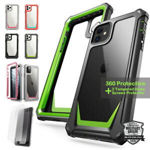 360 Full Body Shockproof Rugged Clear Bumper Case For iPhone +2 Screen Protector
