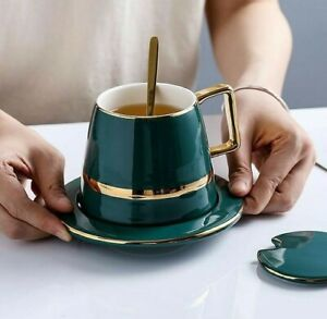 1 Set Coffee Cup With Lid Dish Spoon Ceramic and Gift Box Green Round Kitchen
