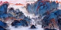 ORIENTAL ASIAN FINE ART CHINESE SANSUI WATERCOLOR PAINTING-Mountains view&Trees