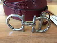 New Salvatore Ferragamo Double Gancio Calfskin Leather Belt Size W36-37-38-39-40