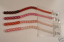 "Ombre/Graduated Pink to Red Pearl Style Beads ~6mm to 9mm 4 x 7"" Strands Glass"