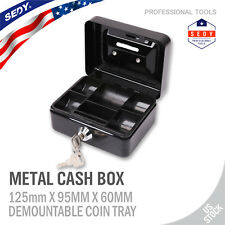 Locking Steel Cash Lock Box with Keys Security Money Tray Double Layer Small