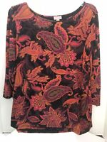 Womens J Jill Wearever Collection Stretch Floral Paisley Knit Top Black  Large