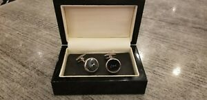 Jaguar XJ cufflinks, XJ logo, black, silver