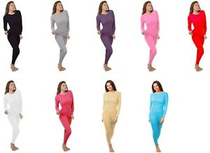 Women's Cotton Light Weight Waffle Knit Thermal Underwear Stretch Shirt & Pants