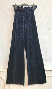 NEW- IN THE STYLE Navy Blue Crushed Velvet Wide Leg Steampunk Whitby Trousers 8