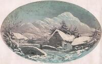 VICTORIAN SNOWY MOUNTAIN LANDSCAPE Gouache Painting c1840