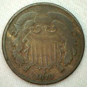 1870 US Two Cent Coin 2c US Shield Type Bronze Coin Good