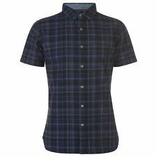 Firetrap De Cuadros Camiseta Top Hombre Camisa Manga Corta Ropa Casual