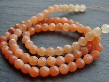"HAND FACETED SHADED PEACH MOONSTONE ROUNDS, 5mm, 15"", 80 beads"