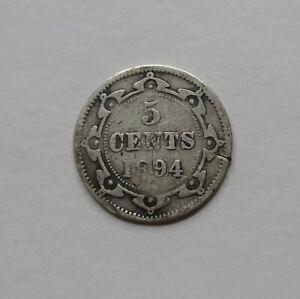 1894 Canada Newfoundland Five Cents Silver Coin - Scarce!