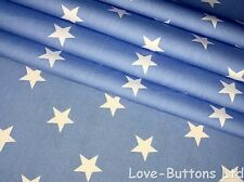 PRETTY ROSE AND HUBBLE BLUE AND WHITE STAR PRINT FABRIC 100% COTTON FAT QUARTERS