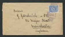 "COLUMBIA LETTER 1908 BOGOTA - MANCHESTER POSTMARK ""UPU"" RARE!! c9928"