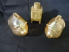 2 Vtg Clear Textured Glass Pig Piggy Banks & Old Cast Iron Refrigerator Bank