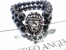 Silver Skull Kings Lion Strech Onyx Bracelet W/ White Diamonds & Rubies