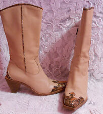 ENZO ANGIOLINI Women's 7M Butter SOFT leather cowboy boots made in Italy Tan