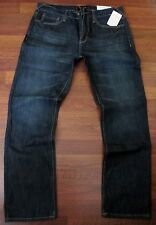 Guess Slim Straight Leg Jeans Men Size 34 X 32 Low Rise Dark Distressed Wash NEW