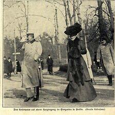 Das deutsche Kaiserpaar * Zwangloser Spaziergang im Berliner Tiergarten * 1907