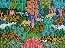 LARGE WHIMSICAL HAITIAN  PEACEABLE KINGDOM PAINTING BY FRANTZ GOUSSE LISTED