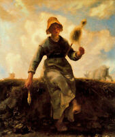 Large Oil painting Millet Young woman - The spinner in landscape canvas 36""