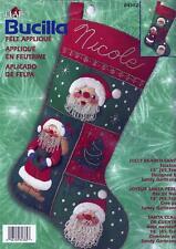 Jolly Beaded Santa Christmas Stocking Embroidery Felt Sewing Kit Bucilla 84382