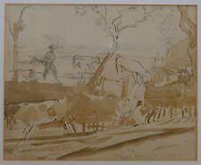 """Gran pluma y lavado """"Vacas hogar de leche"""" Thomas hennell Rws 1903-45 con libro"""