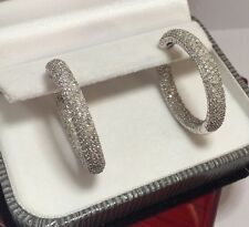 """$10k Large 14k White Gold 550 Diamond 3Ct Pave In Out Hinged Hoop Earrings 1.25"""""""