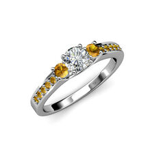 Diamond and Citrine Three Stone Ring with Side Citrine in 14K Gold JP:75287