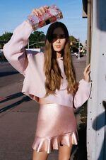 Zara Rose Gold Pink Metallic Mini Skirt With Frilled Hem Mid Rise Size M, Uk10