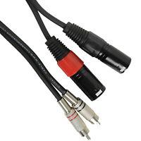 Twin Dual XLR 3 Pin Plug Plugs to 2 x RCA Phono Cable Lead 0.75m 1.5m 3m 6m