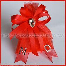 Sacchettino Portaconfetti Rosso con Strass e Iniziali Bomboniera Laurea OFFERTA