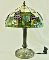 "Beautiful Antique/Vtg 17.5"" Tiffany Style Stained Glass Table Lamp"