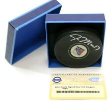 JOHN MOORE Signed, Autographed New York Rangers Hockey Puck w/Steiner Sports COA