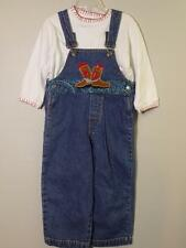 Girl's 2 Pc WESTERN GO! BABY Denim Jeans Overalls w/ Boots Applique & Top, Sz 4T
